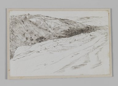 James Tissot (French, 1836-1902). Valley of Jehoshaphat Coming from Bethany (Vallée Josaphat en venant de Béthanie), 1886-1887 or 1889. Pen and ink, Sheet: 4 11/16 x 7 3/16 in. (11.9 x 18.3 cm). Brooklyn Museum, Purchased by public subscription, 00.159.419