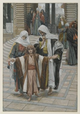 James Tissot (French, 1836-1902). Jesus Found in the Temple (Jesus retrouvé dans le temple), 1886-1894. Opaque watercolor over graphite on gray wove paper, Image: 10 1/8 x 6 15/16 in. (25.7 x 17.6 cm). Brooklyn Museum, Purchased by public subscription, 00.159.41