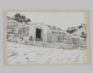 James Tissot (French, 1836-1902). Ancient Tombs, Valley of Hinnom, 1886-1887 or 1889. Pen and ink, Sheet: 4 11/16 x 7 1/4 in. (11.9 x 18.4 cm). Brooklyn Museum, Purchased by public subscription, 00.159.421