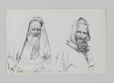James Tissot (French, 1836-1902). Types of Jews, 1886-1887 or 1889. Ink on paper mounted on board, Sheet: 4 3/4 x 7 1/8 in. (12.1 x 18.1 cm). Brooklyn Museum, Purchased by public subscription, 00.159.422