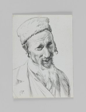 James Tissot (French, 1836-1902). Type of Jew, 1886-1887 or 1889. Pen and ink on paper mounted on board, Sheet: 4 11/16 x 3 7/16 in. (11.9 x 8.7 cm). Brooklyn Museum, Purchased by public subscription, 00.159.424.1