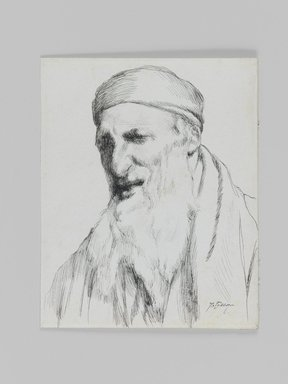James Tissot (French, 1836-1902). Type of Jew, 1886-1887 or 1889. Pen and ink, Sheet: 4 5/8 x 3 3/4 in. (11.7 x 9.5 cm). Brooklyn Museum, Purchased by public subscription, 00.159.424.2