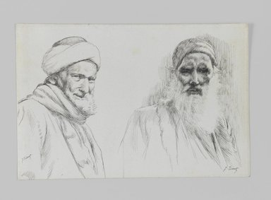 James Tissot (French, 1836-1902). Types of Jews, 1886-1887 or 1889. Pen and ink, Sheet: 4 5/8 x 7 1/16 in. (11.7 x 17.9 cm). Brooklyn Museum, Purchased by public subscription, 00.159.431