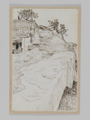 James Tissot (French, 1836-1902). Tombs in the Valley of Hinnom, 1886-1887 or 1889. Pen and ink on paper mounted on board, Sheet: 7 1/4 x 4 5/8 in. (18.4 x 11.7 cm). Brooklyn Museum, Purchased by public subscription, 00.159.433