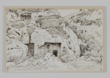 James Tissot (French, 1836-1902). Tombs in the Valley of Hinnom, 1886-1887 or 1889. Pen and ink, Sheet: 4 11/16 x 7 1/4 in. (11.9 x 18.4 cm). Brooklyn Museum, Purchased by public subscription, 00.159.434