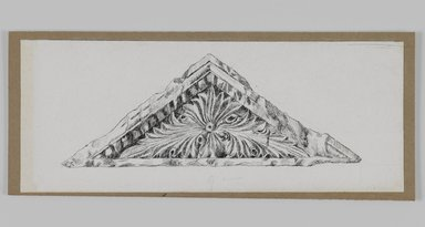 James Tissot (French, 1836-1902). Judaic Ornament, 1886-1887 or 1889. Pen and ink on paper mounted on board, Sheet: 2 7/8 x 7 3/16 in. (7.3 x 18.3 cm). Brooklyn Museum, Purchased by public subscription, 00.159.438.1