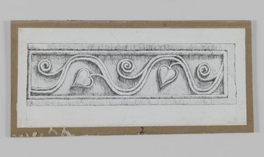 James Tissot (French, 1836-1902). Judaic Ornament (Architectural Fragment with Vine and Heart), 1886-1887 or 1889. Ink on paper, Sheet: 2 9/16 x 5 7/8 in. (6.5 x 14.9 cm). Brooklyn Museum, Purchased by public subscription, 00.159.438.7