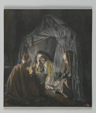 James Tissot (French, 1836-1902). Two or Three Gathered in my Name (Deux ou trois personnes assemblées en mon nom), 1886-1894. Opaque watercolor over graphite on gray wove paper, Image: 6 3/16 x 5 9/16 in. (15.7 x 14.1 cm). Brooklyn Museum, Purchased by public subscription, 00.159.43