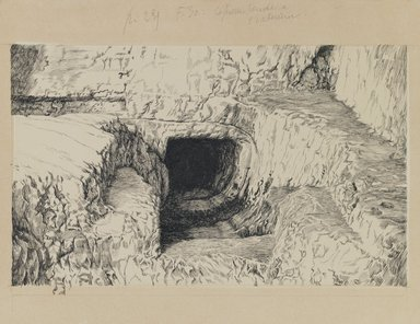 James Tissot (French, 1836-1902). The Round Stone Seen from the Exterior, 1886-1887 or 1889. Ink on paper, Image: 5 13/16 x 9 1/2 in. (14.8 x 24.1 cm). Brooklyn Museum, Purchased by public subscription, 00.159.440