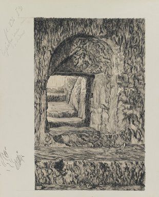 James Tissot (French, 1836-1902). The Round Stone Seen from the Interior, 1886-1887 or 1889. Ink and graphite on paperboard, Image: 9 1/2 x 6 1/16 in. (24.1 x 15.4 cm). Brooklyn Museum, Purchased by public subscription, 00.159.441