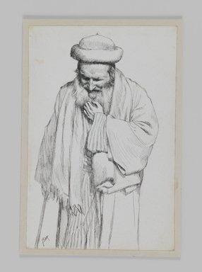 James Tissot (French, 1836-1902). Type of Jew, 1886-1887 or 1889. Ink on paper mounted on board, Sheet: 7 x 4 5/8 in. (17.8 x 11.7 cm). Brooklyn Museum, Purchased by public subscription, 00.159.442