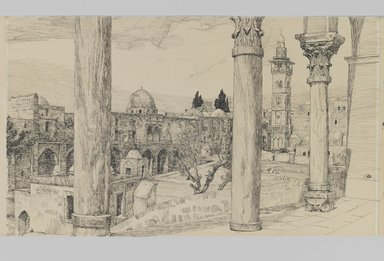 James Tissot (French, 1836-1902). Esplanade of the Haram (Esplanade du Haram), 1886-1887 or 1889. Ink and graphite on paperboard, Image: 6 1/8 x 10 5/16 in. (15.6 x 26.2 cm). Brooklyn Museum, Purchased by public subscription, 00.159.448