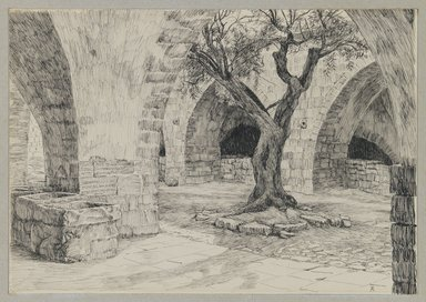 James Tissot (French, 1836-1902). Out-buildings of the Armenian Convent, Jerusalem, 1886-1887 or 1889. Ink on paper mounted on board, Sheet: 5 5/16 x 7 9/16 in. (13.5 x 19.2 cm). Brooklyn Museum, Purchased by public subscription, 00.159.449