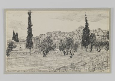 James Tissot (French, 1836-1902). Place of the Gentiles' Court, Haram, 1886-1887 or 1889. Ink on paper mounted on board, Sheet: 5 1/4 x 8 7/8 in. (13.3 x 22.5 cm). Brooklyn Museum, Purchased by public subscription, 00.159.450