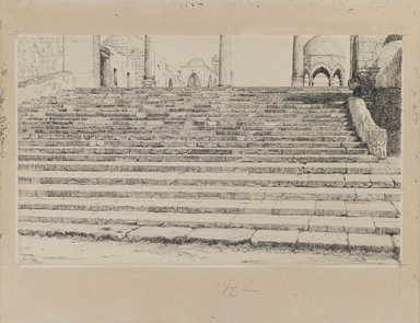James Tissot (French, 1836-1902). Staircase of the Court, Haram, 1886-1887 or 1889. Ink and graphite on paperboard, Image: 6 1/16 x 10 1/8 in. (15.4 x 25.7 cm). Brooklyn Museum, Purchased by public subscription, 00.159.451
