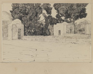 James Tissot (French, 1836-1902). Rear of the Mosque of Omar, 1886-1887 or 1889. Ink and graphite on paperboard, Image: 6 9/16 x 10 in. (16.7 x 25.4 cm). Brooklyn Museum, Purchased by public subscription, 00.159.452