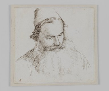 James Tissot (French, 1836-1902). Type of Jew, 1886-1887 or 1889. Ink on paper, Sheet: 4 11/16 x 4 15/16 in. (11.9 x 12.5 cm). Brooklyn Museum, Purchased by public subscription, 00.159.453