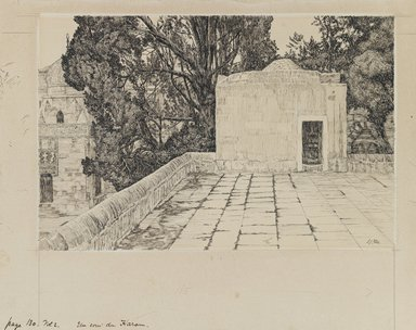 James Tissot (French, 1836-1902). A Corner of the Haram, 1886-1887 or 1889. Ink and graphite on paperboard, Image: 6 3/16 x 9 3/8 in. (15.7 x 23.8 cm). Brooklyn Museum, Purchased by public subscription, 00.159.455