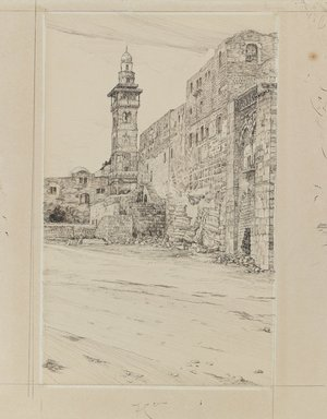 James Tissot (French, 1836-1902). Site of the Antonia Tower, 1886-1887 or 1889. Ink and graphite on paperboard, Image: 9 3/4 x 6 in. (24.8 x 15.2 cm). Brooklyn Museum, Purchased by public subscription, 00.159.456