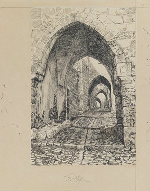 James Tissot (French, 1836-1902). Via Dolorosa, 1886-1887 or 1889. Ink and graphite on paperboard, Image: 9 1/16 x 6 in. (23 x 15.2 cm). Brooklyn Museum, Purchased by public subscription, 00.159.458