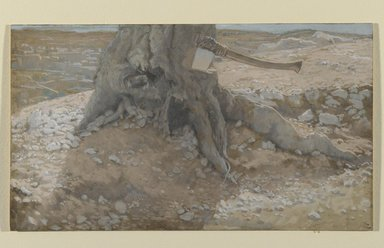 James Tissot (French, 1836-1902). The Axe in the Trunk of the Tree (La cognée dans le tronc de l'arbre), 1886-1894. Opaque watercolor over graphite on gray wove paper, Image: 5 1/16 x 8 7/8 in. (12.9 x 22.5 cm). Brooklyn Museum, Purchased by public subscription, 00.159.45