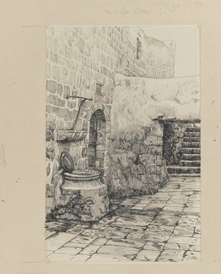 James Tissot (French, 1836-1902). An Old Cistern, 1886-1887 or 1889. Ink and graphite on paperboard, Image: 9 3/8 x 6 3/16 in. (23.8 x 15.7 cm). Brooklyn Museum, Purchased by public subscription, 00.159.460