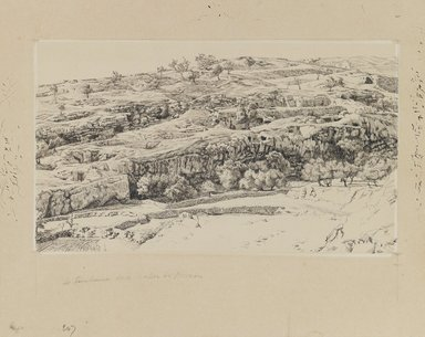 James Tissot (French, 1836-1902). The Tombs in the Valley of Hinnom, 1886-1887 or 1889. Ink and graphite on paperboard, Image: 5 1/2 x 9 7/16 in. (14 x 24 cm). Brooklyn Museum, Purchased by public subscription, 00.159.462