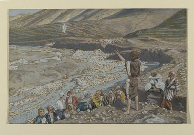 James Tissot (French, 1836-1902). Saint John the Baptist Sees Jesus from Afar (Saint Jean-Baptiste voit Jésus de loin), 1886-1894. Opaque watercolor over graphite on gray wove paper, Image: 6 x 9 1/4 in. (15.2 x 23.5 cm). Brooklyn Museum, Purchased by public subscription, 00.159.48