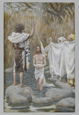 James Tissot (French, 1836-1902). The Baptism of Jesus (Baptême de Jésus), 1886-1894. Opaque watercolor over graphite on gray wove paper, Image: 8 1/2 x 5 1/2 in. (21.6 x 14 cm). Brooklyn Museum, Purchased by public subscription, 00.159.49