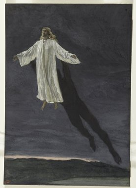 James Tissot (French, 1836-1902). Jesus Transported by a Spirit onto a High Mountain (Jésus transporté par l'esprit sur une haute montagne), 1886-1894. Opaque watercolor over graphite on gray wove paper, Image: 10 7/16 x 7 1/4 in. (26.5 x 18.4 cm). Brooklyn Museum, Purchased by public subscription, 00.159.50