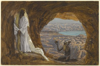 James Tissot (French, 1836-1902). Jesus Tempted in the Wilderness (Jésus tenté dans le désert), 1886-1894. Opaque watercolor over graphite on gray wove paper, Image: 8 7/8 x 13 5/16 in. (22.5 x 33.8 cm). Brooklyn Museum, Purchased by public subscription, 00.159.51