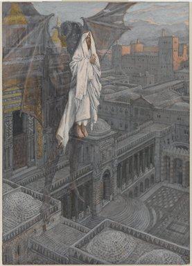 James Tissot (French, 1836-1902). Jesus Carried up to a Pinnacle of the Temple (Jésus porté sur le pinacle du Temple), 1886-1894. Opaque watercolor over graphite on gray wove paper, Image: 8 3/4 x 6 1/4 in. (22.2 x 15.9 cm). Brooklyn Museum, Purchased by public subscription, 00.159.52