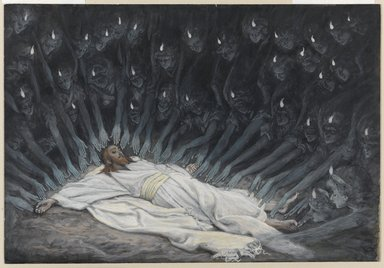 James Tissot (French, 1836-1902). Jesus Ministered to by Angels (Jésus assisté par les anges), 1886-1894. Opaque watercolor over graphite on gray wove paper, Image: 6 11/16 x 9 3/4 in. (17 x 24.8 cm). Brooklyn Museum, Purchased by public subscription, 00.159.54