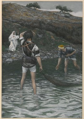 James Tissot (French, 1836-1902). The Calling of Saint Peter and Saint Andrew (Vocation de Saint Pierre et Saint André), 1886-1894. Opaque watercolor over graphite on gray wove paper, Image: 9 5/8 x 6 5/8 in. (24.4 x 16.8 cm). Brooklyn Museum, Purchased by public subscription, 00.159.56