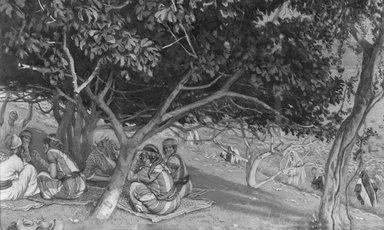 James Tissot (French, 1836-1902). Nathaniel Under the Fig Tree (Nathanaël sous le figuier), 1886-1894. Opaque watercolor over graphite on gray wove paper, Image: 6 5/16 x 10 7/16 in. (16 x 26.5 cm). Brooklyn Museum, Purchased by public subscription, 00.159.59