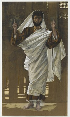 James Tissot (French, 1836-1902). Saint Bartholomew (Saint Barthélémy), 1886-1894. Opaque watercolor over graphite on gray wove paper, Image: 11 x 6 7/16 in. (27.9 x 16.4 cm). Brooklyn Museum, Purchased by public subscription, 00.159.60
