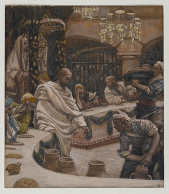 James Tissot (French, 1836-1902). The Marriage at Cana (Les noces de Cana), 1886-1894. Opaque watercolor over graphite on gray wove paper, Image: 8 15/16 x 7 13/16 in. (22.7 x 19.8 cm). Brooklyn Museum, Purchased by public subscription, 00.159.62