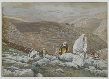 James Tissot (French, 1836-1902). With Passover Approaching, Jesus Goes Up to Jerusalem, 1886-1894. Opaque watercolor over graphite on gray wove paper, Image: 6 1/8 x 8 3/4 in. (15.6 x 22.2 cm). Brooklyn Museum, Purchased by public subscription, 00.159.63