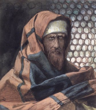 James Tissot (French, 1836-1902). Nicodemus (Nicodème), 1886-1894. Opaque watercolor over graphite on gray wove paper, Image: 4 11/16 x 4 3/16 in. (11.9 x 10.6 cm). Brooklyn Museum, Purchased by public subscription, 00.159.65