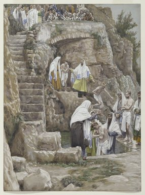 James Tissot (French, 1836-1902). The Disciples of Jesus Baptize (Les disciples de Jésus baptisent), 1886-1896. Opaque watercolor over graphite on gray wove paper, Image: 9 7/8 x 7 5/16 in. (25.1 x 18.6 cm). Brooklyn Museum, Purchased by public subscription, 00.159.66