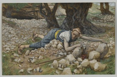 James Tissot (French, 1836-1902). The Hidden Treasure (Le trésor enfoui), 1886-1894. Opaque watercolor over graphite on gray wove paper, Image: 5 1/4 x 8 1/8 in. (13.3 x 20.6 cm). Brooklyn Museum, Purchased by public subscription, 00.159.73