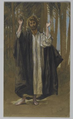 James Tissot (French, 1836-1902). Saint Simon, 1886-1894. Opaque watercolor over graphite on gray wove paper, Image: 12 3/16 x 7 1/8 in. (31 x 18.1 cm). Brooklyn Museum, Purchased by public subscription, 00.159.77