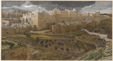 James Tissot (French, 1836-1902). Reconstruction of the Temple of Herod, Southeast Corner (Reconstitution du temple d'Hérode. Angle sud-est.), 1886-1894. Opaque watercolor over graphite on gray wove paper, Image: 8 7/8 x 16 3/8 in. (22.5 x 41.6 cm). Brooklyn Museum, Purchased by public subscription, 00.159.7