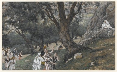 James Tissot (French, 1836-1902). Jesus Went Out into a Desert Place (Jésus va dans un endroit désert), 1886-1896. Opaque watercolor over graphite on gray wove paper, Image: 6 5/16 x 10 7/16 in. (16 x 26.5 cm). Brooklyn Museum, Purchased by public subscription, 00.159.80