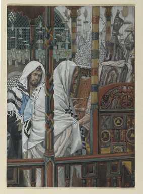 James Tissot (French, 1836-1902). Jesus Teaches in the Synagogues (Jésus enseigne dans les synagogues), 1886-1896. Opaque watercolor over graphite on gray wove paper, Frame: 21 1/4 x 16 1/4 x 1 1/2 in. (54 x 41.3 x 3.8 cm). Brooklyn Museum, Purchased by public subscription, 00.159.81