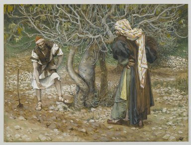 James Tissot (French, 1836-1902). The Vine Dresser and the Fig Tree (Le vigneron et le figuier), 1886-1894. Opaque watercolor over graphite on gray wove paper, Image: 5 3/4 x 7 5/8 in. (14.6 x 19.4 cm). Brooklyn Museum, Purchased by public subscription, 00.159.82