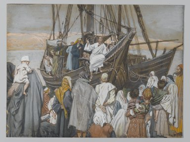 James Tissot (French, 1836-1902). Jesus Preaches in a Ship (Jésus prèche dans une barque), 1886-1894. Opaque watercolor over graphite on gray wove paper, Image: 6 3/8 x 8 5/16 in. (16.2 x 21.1 cm). Brooklyn Museum, Purchased by public subscription, 00.159.85
