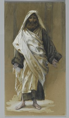 James Tissot (French, 1836-1902). Saint James Major (Saint James le Majeur), 1886-1894. Opaque watercolor over graphite on gray wove paper, Image: 10 13/16 x 5 13/16 in. (27.5 x 14.8 cm). Brooklyn Museum, Purchased by public subscription, 00.159.86