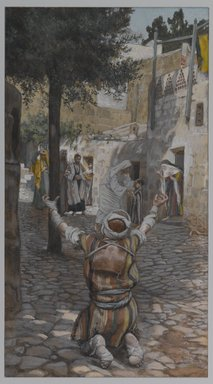 James Tissot (French, 1836-1902). Healing of the Lepers at Capernaum (Guérison des lépreux à Capernaum), 1886-1894. Opaque watercolor over graphite on gray wove paper, Image: 11 1/4 x 6 3/16 in. (28.6 x 15.7 cm). Brooklyn Museum, Purchased by public subscription, 00.159.89