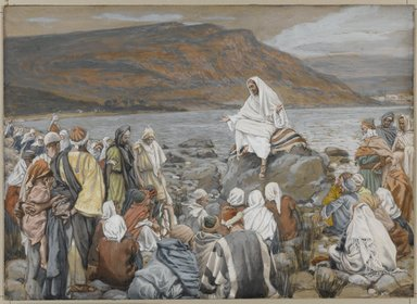 James Tissot (French, 1836-1902). Jesus Teaches the People by the Sea (Jésus enseigne le peuple près de la mer), 1886-1896. Opaque watercolor over graphite on gray wove paper, Image: 6 11/16 x 9 1/4 in. (17 x 23.5 cm). Brooklyn Museum, Purchased by public subscription, 00.159.90